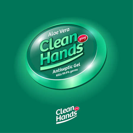 Clean Hands logo. Hand disinfectant, virus protection label. Sanitizer for hands and body. Green glossy ellipse with letters. Logo