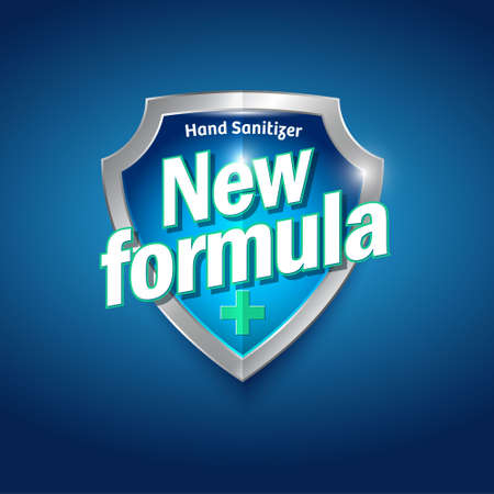 New Formula logo. Sanitizer gel, antiseptic and virus protection label. Sanitizer for hands and body. Blue and silver glossy shield with letters and medical cross. Logo