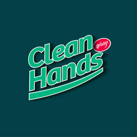 Clean Hands spray logo and label. Hand disinfectant, virus protection sign. Sanitizer for hands and body. Green letters and red ellipse.