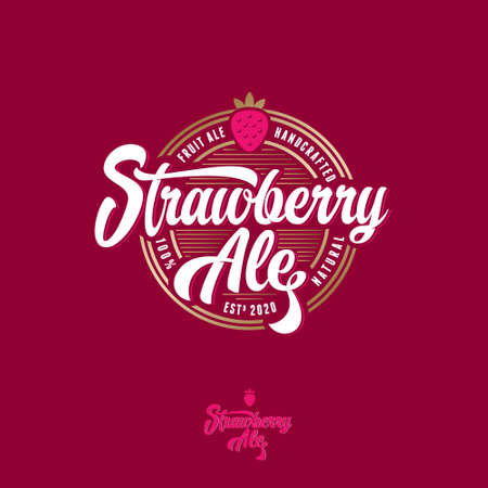 Strawberry Ale label. Vintage letters with curls and Strawberry into circle badge.