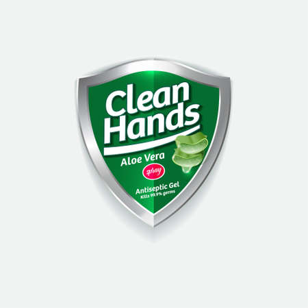 Clean Hands logo. Hand disinfectant, virus protection label. Sanitizer for hands and body. Green glossy shield with logotype and cut leaves Aloe Vera. Logo