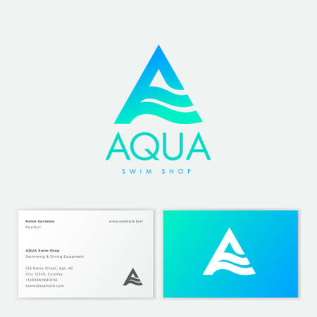 Aqua logo. Letter A with wavy elements. Emblem for cosmetics, clothes for swimming, spa or water club emblem. Business card.