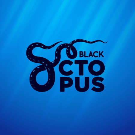 Black octopus label. Premium packaging design for seafood. Lettering composition with letter like octopus tentacles. Sea underwater background.