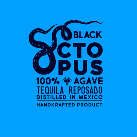 Black octopus label. Premium packaging design. Lettering composition with letter o like octopus tentacles. Scratch, shabby style.