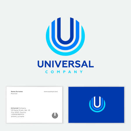 Universal abstract logo. U letter located in a few colored circles. Multi color geometric elements as U monogram on different backgrounds. Business card.