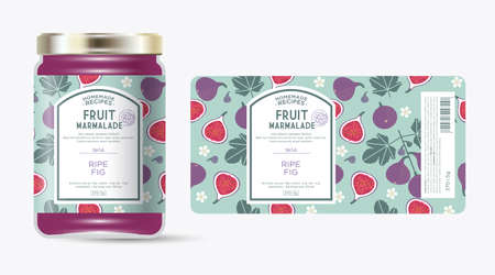 Label and packaging of fig marmalade. Jar with label. Text in frame with stamp (sugar free) on seamless pattern with fruits, flowers and leaves.