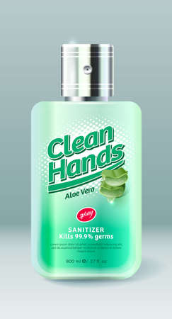 Clean Hands label and packaging. Bottle with spray and transparent liquid. Sanitizer, Antiseptic, Virus protection for hands and body. Green lettering with pieces of Aloe Vera.