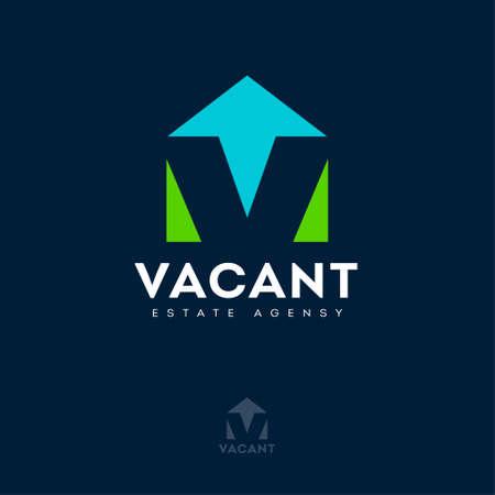 Vacant logo with optical illusion. V letter, monogram like house silhouette. Logo for Estate Agency, Rental Property, Real Estate logo.