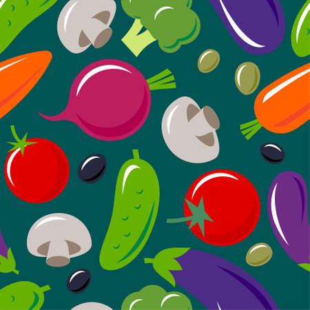 Vegetables mix seamless pattern. Tomatoes, eggplants, cucumbers, broccoli, carrots, beetroot, mushrooms, olives. Original simple flat illustration.