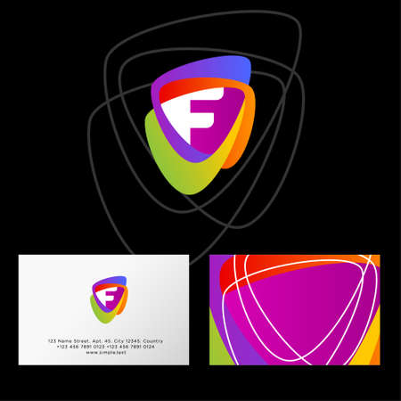 F logo. Multicolor shapes and F letter. Web, user interface icon. Identity. Business card.