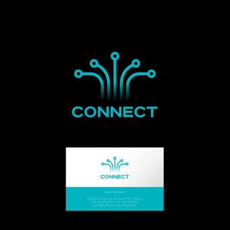 Connect logo, business card. Wireless technology, Internet emblem. Icon for digital space, UI, internet, online communication.