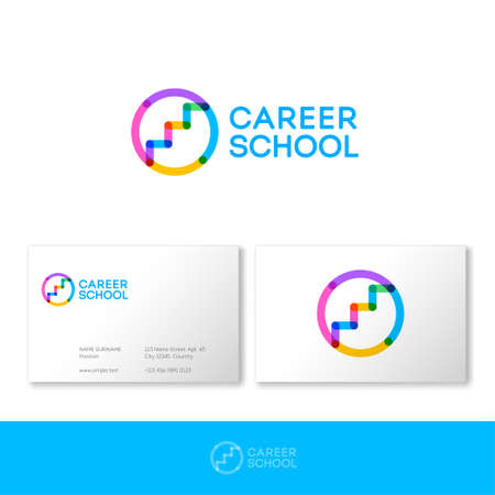 Career school logo.HR logo. Career services logo. Stairs up on circle consist of transparent elements. Human resources management. Logo