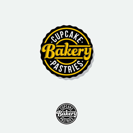 Bakery logo. Bakery premium emblem. Lettering in a circular badge. Vintage signboard.