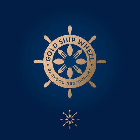 Golden ship wheel logo. Restaurant emblem. Nautical wheel, forks and spoons. Seafood restaurant emblem.