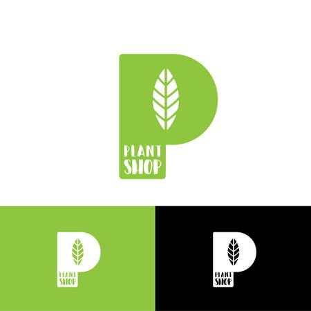 P monogram with leaf logo. Green P letter. Emblem for garden and plants shop.