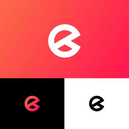 E letter. E monogram on different background. Web, UI icon. Identity.