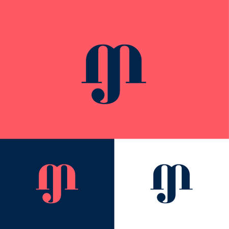 J and M monogram. J, M letters combined on different backgrounds. Web, UI icon. Identity.