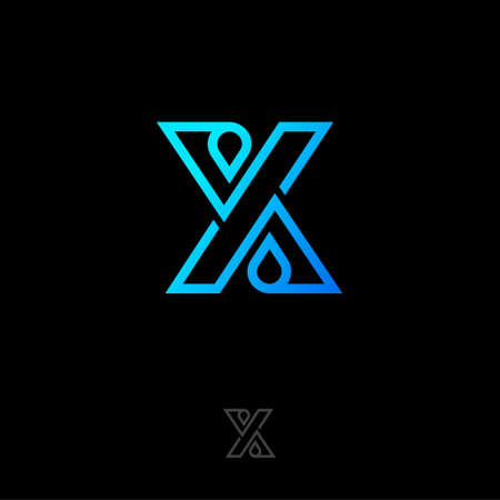 X letter monogram consists of lines and drops, crossed elements. Flat linear style emblem.