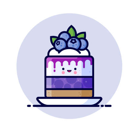 Cheesecake with whipped cream, jelly, syrup, and whole blueberries. Yummy dessert Icon. Cute kawaii illustration. Japanese style.