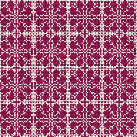 Christmas Sweater Design. Pattern needlework scheme. Knitted red and white pattern. Norwegian pattern. Scandinavian stars or snowflakes.