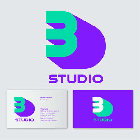 3D studio logo concept. Number 3 with shadow like letter D on a white background. Network, web, UI icon. Modern technology. D is a shadow of number 3. Business card.