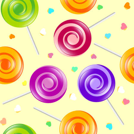 Lollipop seamless pattern. Sweets shop illustration. Lollipop and hearts on the light background.
