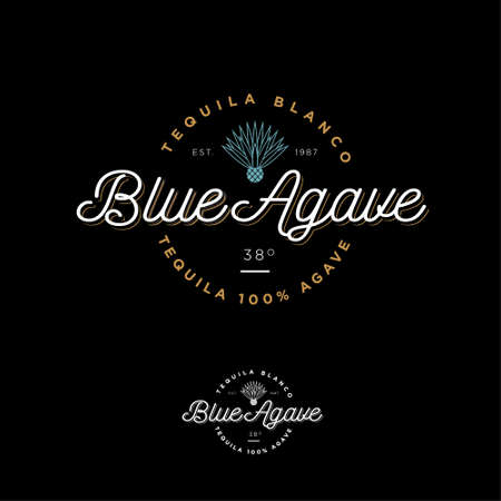 Blue agave tequila logo. Emblem for the label Beautiful letters and an agave icon. Logos