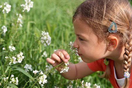 leaning forward: Young pretty girl leaning forward to smell flowers in a field