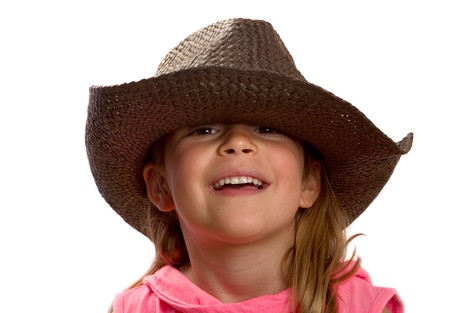 pink hat: Pretty little girl wearing a brown straw hat