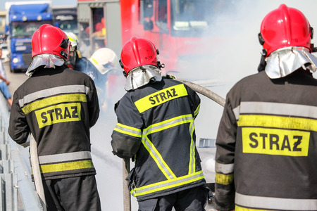 Polish firefighters  fire brigade  fire department in action Stock Photo