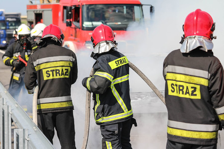 Polish firefighters  fire brigade  fire department in action Stock fotó