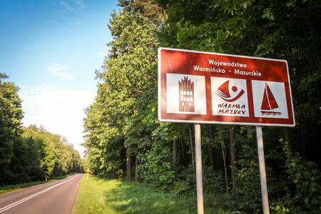 Warmian-Masurian voivodeship  Warmia and Masuria region information road sign