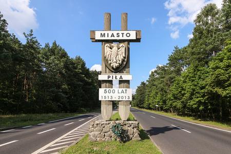 pila: A monument marking the city of Pila, Poland