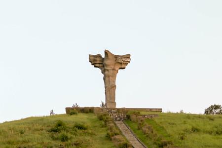 Cedynia, Poland on August 22, 2017. Battle of Cedynia (June 24, 972) memorial monument Editorial