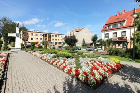 The main square in Jeziorany, Poland. Editorial