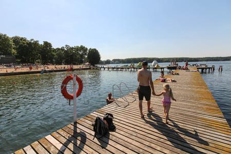 Olsztyn, Poland on August 30, 2017. Public beach at the Ukiel lake.