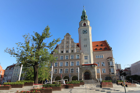 The neo-renaissance New Town Hall in Olsztyn, Poland on a beautiful summer day.