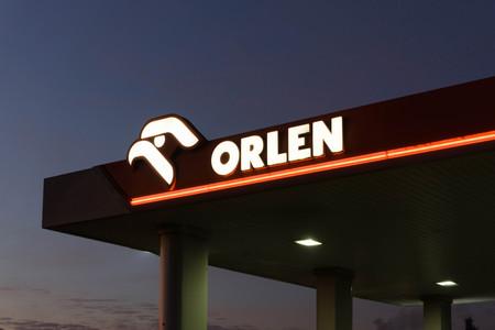 The logo of PKN Orlen - a major Polish oil refiner and petrol retailer company.