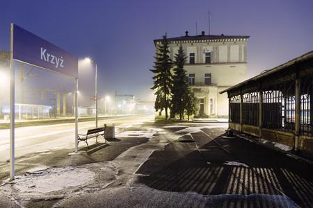 Krzyz Wielkopolski, Poland - the train station in winter night scenery.