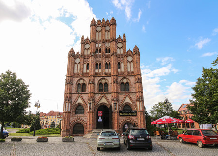 The medieval, gothic town hall in Chojna, Poland Editorial