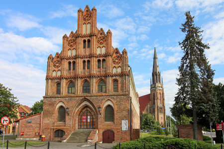 The medieval, gothic town hall in Chojna, Poland Stock Photo