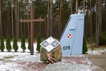 MIROSLAWIEC, POLAND - the monument commemorating the victims of the Polish Air Force CASA airplane crash on January 23, 2008.