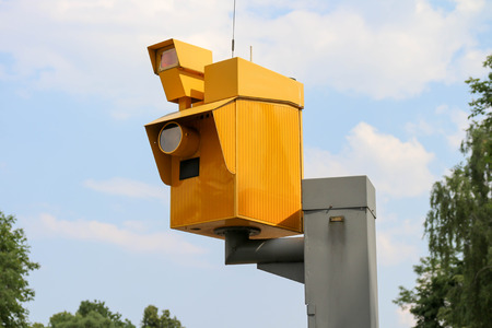 a speed camera at the roadside 写真素材