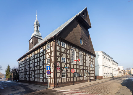 RAKONIEWICE, POLAND - half-timbered building of the Museum of Firefighting 에디토리얼