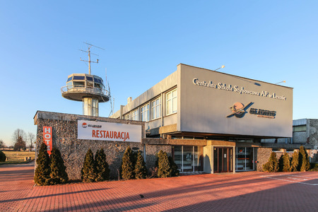 LESZNO, POLAND - the control tower and the main building of Leszno-Strzyzewice Airport.