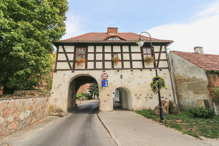 LAGOW, POLAND - half-timbered Marchian Gate