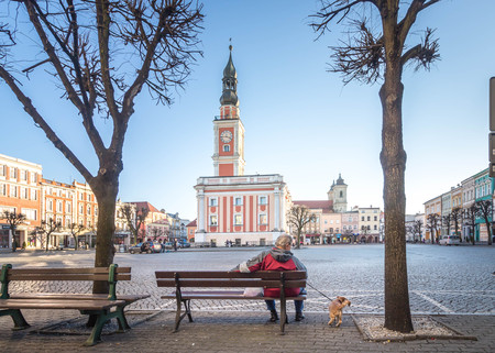 LESZNO, POLAND - an older man with a dog sitting on a bench in front of the Leszno Town Hall