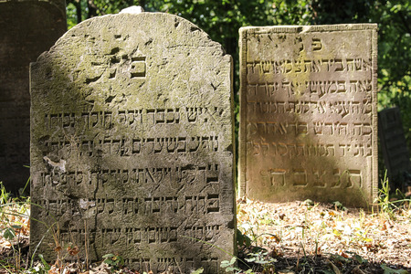 Tombstones at the Jewish cemetery in Skwierzyna, Poland