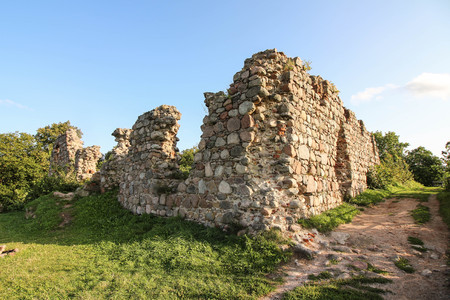 Ruins of a medieval castle in Kurzetnik, Poland Stock Photo