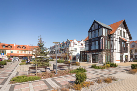 Renovated main square in Puszczykowo, Poland